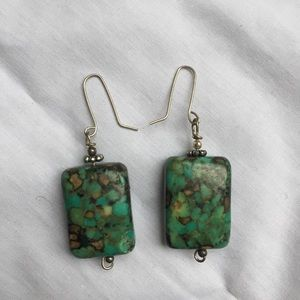 Jewelry - NEW Turquoise Earrings with Silver Toned Hardware